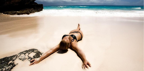Her body on the sand