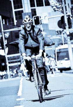 Man in bike rushing
